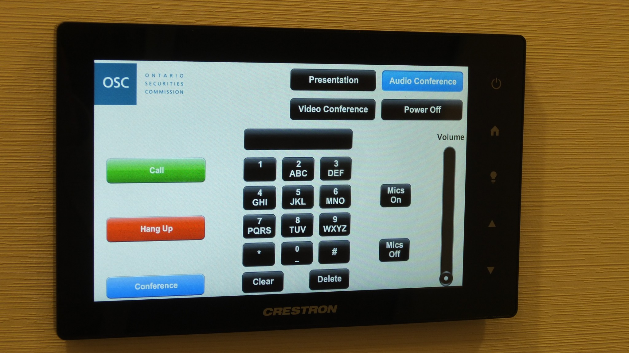 Meeting Room Wall Mounted Touch Panel