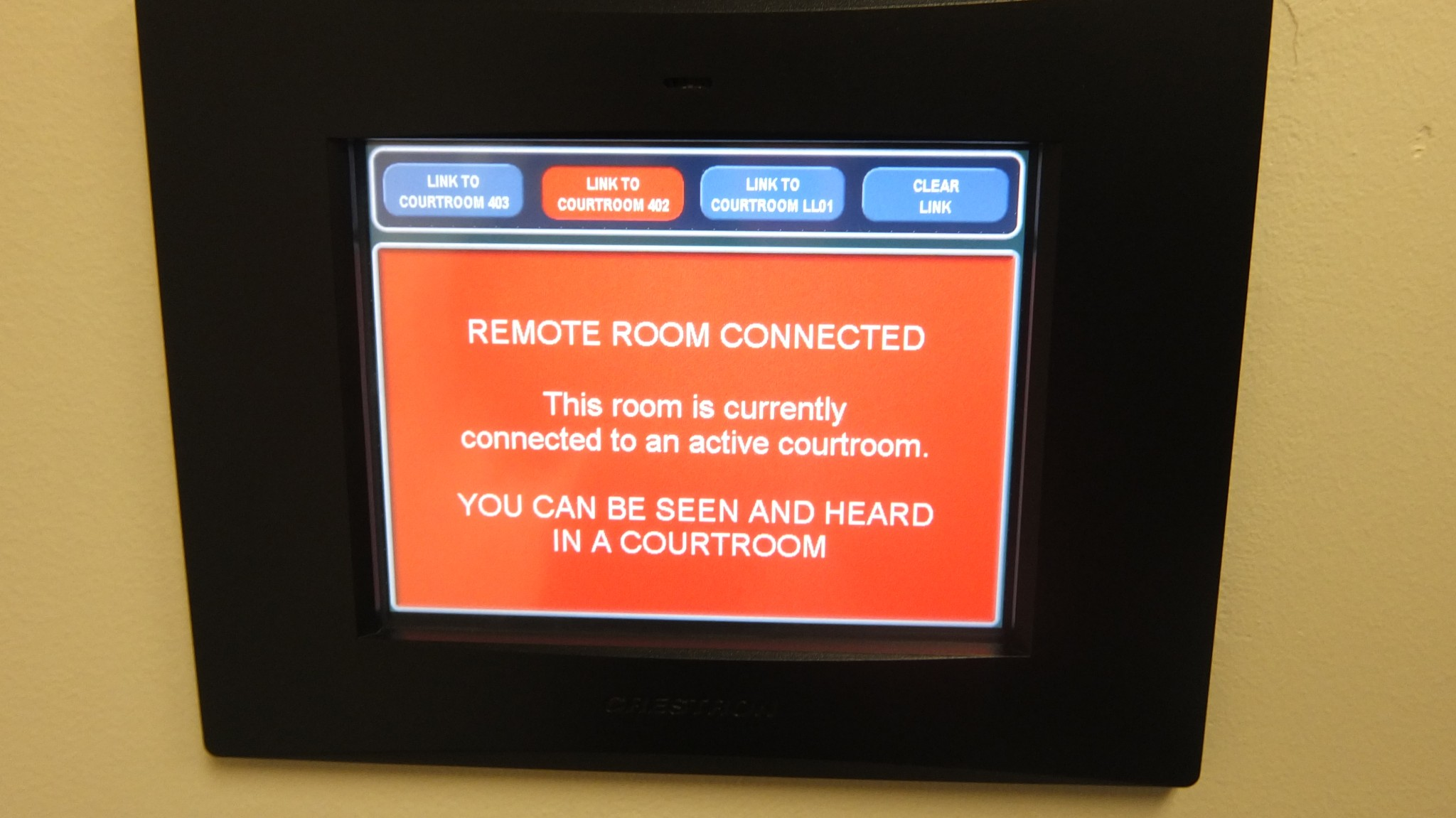 Remote Testimony Suite Touch Panel